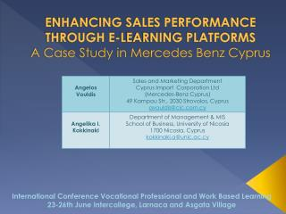 ENHANCING SALES PERFORMANCE THROUGH E-LEARNING PLATFORMS A Case Study in Mercedes Benz Cyprus