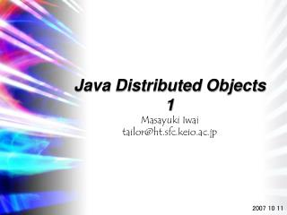 Java Distributed Objects 1