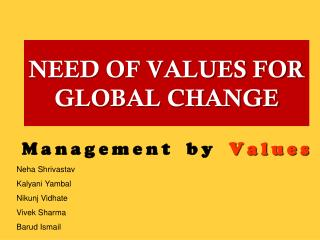 NEED OF VALUES FOR GLOBAL CHANGE