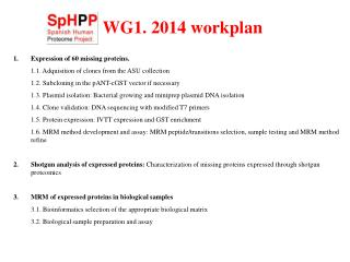 WG1. 2014 workplan
