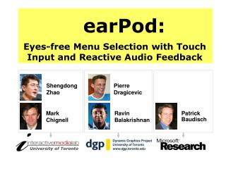 earPod : Eyes-free Menu Selection with Touch Input and Reactive Audio Feedback