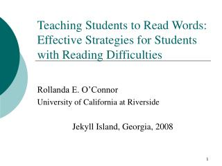 Teaching Students to Read Words: Effective Strategies for Students with Reading Difficulties
