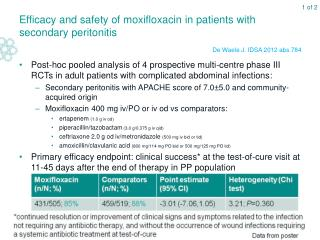 Efficacy and safety of moxifloxacin in patients with secondary peritonitis