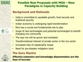 Possible New Proposals with MOA – New Paradigms in Capacity Building