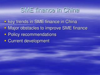 SME finance in China