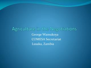 Agriculture in the Negotiations