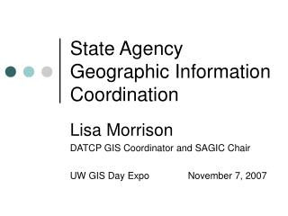 State Agency Geographic Information Coordination