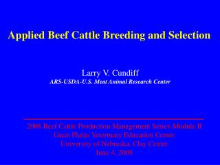 Applied Beef Cattle Breeding and Selection