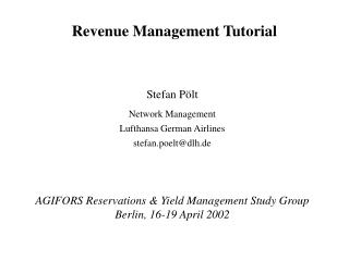 Revenue Management Tutorial