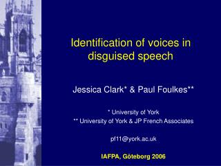 Identification of voices in disguised speech