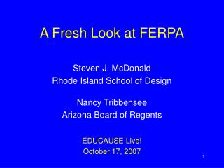 A Fresh Look at FERPA