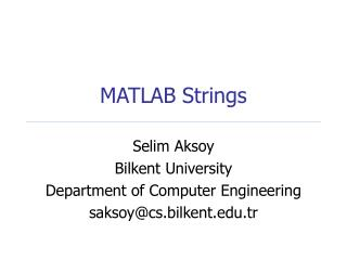 MATLAB Strings