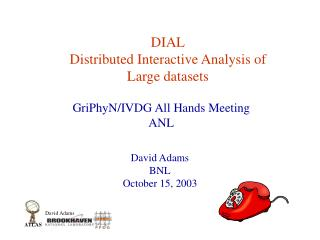 DIAL Distributed Interactive Analysis of Large datasets
