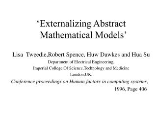 'Externalizing Abstract      Mathematical Models'