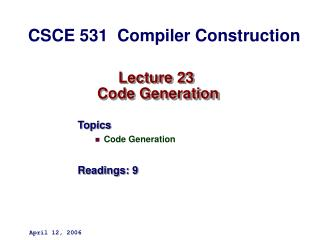 Lecture 23  Code Generation