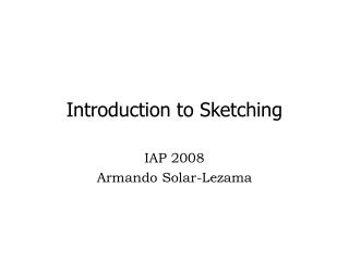 Introduction to Sketching