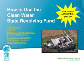 How to Use the  Clean Water  State Revolving Fund SRF Overview Planning