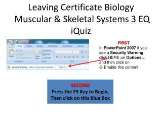 Leaving Certificate Biology  Muscular & Skeletal Systems 3 EQ iQuiz