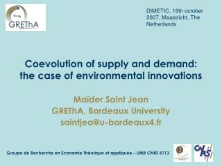Coevolution of supply and demand: the case of environmental innovations