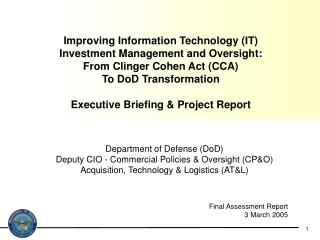 Department of Defense (DoD) Deputy CIO - Commercial Policies & Oversight (CP&O)
