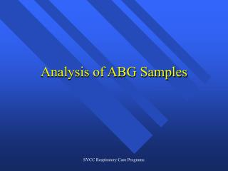 Analysis of ABG Samples