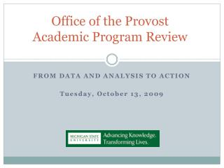 Office of the Provost Academic Program Review