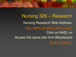 Nursing 326 – Research