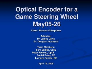 Optical Encoder for a Game Steering Wheel May05-26