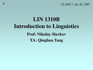 LIN 1310B Introduction to Linguistics