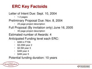 ERC Key Factoids