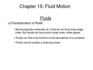 Chapter 15: Fluid Motion