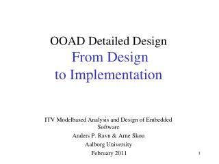 OOAD Detailed Design From Design  to Implementation