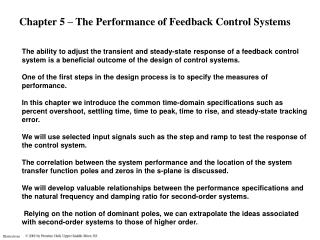 Chapter 5 – The Performance of Feedback Control Systems