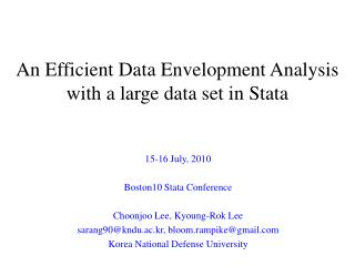 An Efficient Data Envelopment Analysis with a large data set in Stata