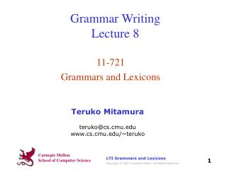 Grammar Writing Lecture 8