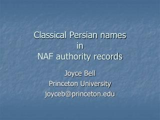 Classical Persian names in NAF authority records