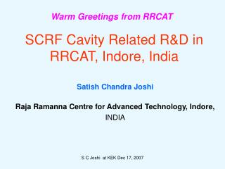 SCRF Cavity Related R&D in RRCAT, Indore, India