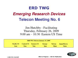 ERD TWG Emerging Research Devices Telecon Meeting No. 6