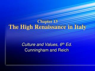 Chapter 13 The High Renaissance in Italy