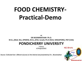 FOOD CHEMISTRY-Practical-Demo
