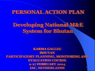 PERSONAL ACTION PLAN Developing National M&E System for Bhutan