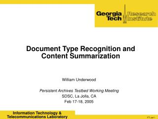Document Type Recognition and Content Summarization