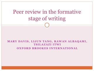 Peer review in the formative stage of writing