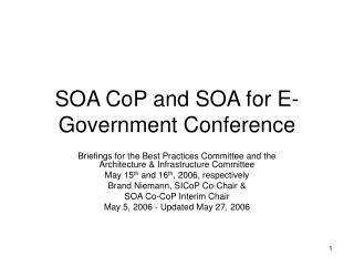 SOA CoP and SOA for E-Government Conference