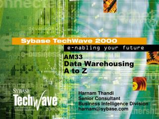 AM33 Data Warehousing  A to Z