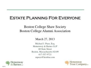 Estate Planning For Everyone Boston College Shaw Society Boston College Alumni Association