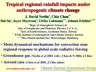 Tropical regional rainfall impacts under anthropogenic climate change
