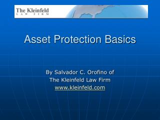 Asset Protection Basics