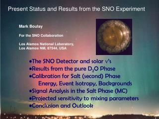 Present Status and Results from the SNO Experiment