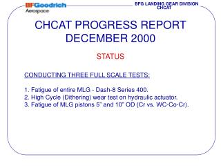 CHCAT PROGRESS REPORT DECEMBER 2000